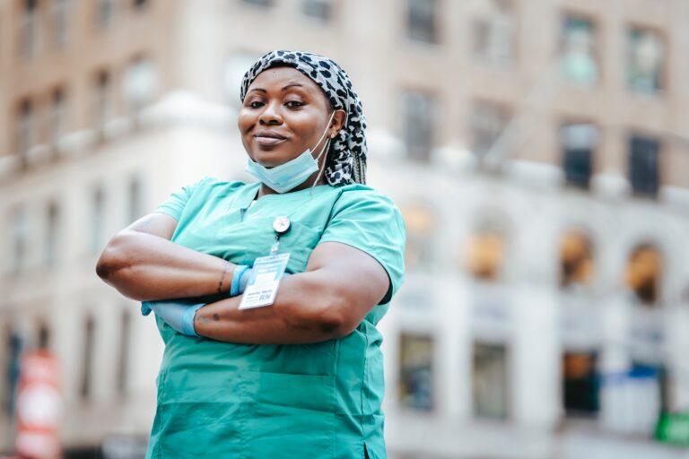 nurse, standing, proud